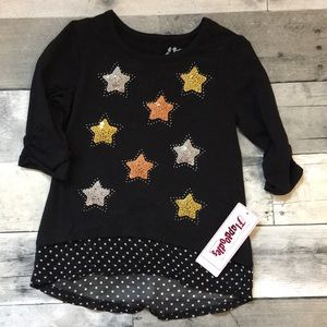 NWT Flapdoodle's girls sequence star top